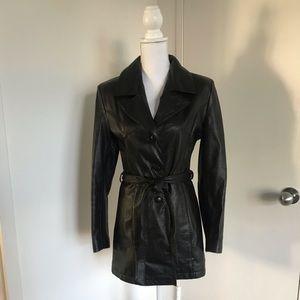 Wilson leather 3/4 black coat